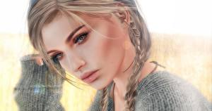 Wallpapers Face Staring Hair Dark Blonde Plait 3D_Graphics