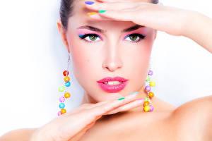 Fotos Gesicht Schminke Starren Model Hübscher Mädchens