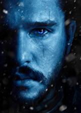 Bilder Game of Thrones Mann Nahaufnahme Augen Kit Harington Gesicht Bärtiger Schönes Nase Jon Snow Film Prominente