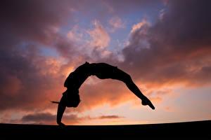 Fonds d'écran Gymnastique Soir Entraînement Silhouette Sport Filles