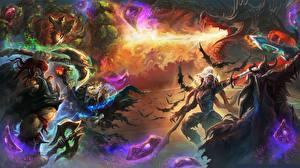 Bureaubladachtergronden Hearthstone: Heroes of Warcraft Veldslag Een draak Krijger videogames Fantasy