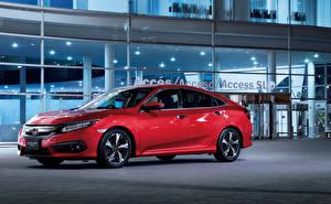 Hintergrundbilder Honda Rot Metallisch 2017 Civic Sedan