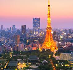 壁纸、、日本、東京都、住宅、超高層建築物、夕、塔、
