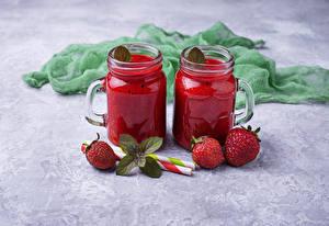 Images Strawberry Smoothy Gray background Mug Jar Two Food