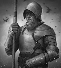 Hintergrundbilder Ritter Mann Rüstung Schwarzweiss Helm Speer Fantasy