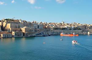 Fotos Malta Gebäude Seebrücke Schiffe Bucht Valetta Städte