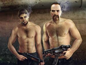 Image Men Assault rifle Fallout 3 Two Cigarette Fan ART Flak, Shrapnel vdeo game