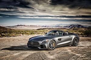 Hintergrundbilder Mercedes-Benz Grau Roadster AMG GT-Class R190 Autos