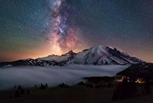 Bilder Gebirge Stern Himmel Landschaftsfotografie Vereinigte Staaten Washington Cascades, Mount Rainier Natur