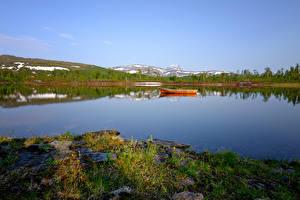 Fotos Norwegen See Boot Natur