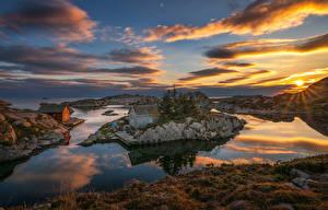 Hintergrundbilder Norwegen Sonnenaufgänge und Sonnenuntergänge Insel Gebäude Himmel Landschaftsfotografie Bucht Wolke Sonne Rogaland Natur