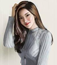 Hintergrundbilder Gezeichnet Asiatisches Haar Braunhaarige Lächeln Mädchens