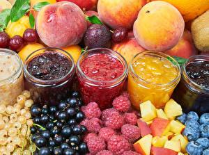 Picture Varenye Peaches Currant Raspberry Fruit Jar Food