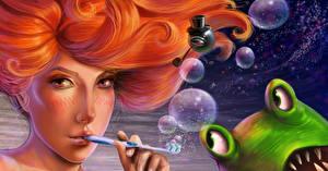 Hintergrundbilder Rotschopf Haar Seifenblasen Fantasy