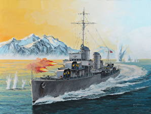 Wallpapers Ship Painting Art German Firing German Destroyer Type 1936