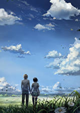 Photo Sky 2 Young man Clouds Anime Girls