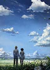 Bilder Himmel 2 Kerl Wolke Mädchens