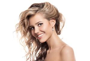 Pictures Smile Dark Blonde White background Beautiful Hair