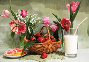 Hintergrundbilder Stillleben Erdbeeren Milch Tulpen Marmelade Weidenkorb Trinkglas Lebensmittel