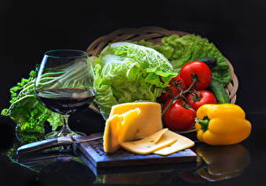 Wallpapers Still-life Vegetables Cheese Wine Bell pepper Tomatoes Black background Stemware Food