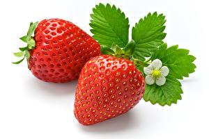 Fotos Erdbeeren Nahaufnahme Weißer hintergrund 2 Blatt das Essen