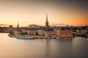Fotos Schweden Stockholm Haus Seebrücke Schiffe Abend Bucht Städte