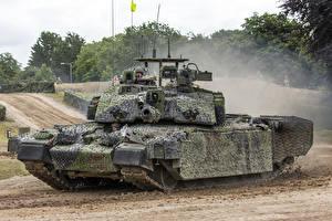 Bureaubladachtergronden Tank Camouflage Britse Challenger 2
