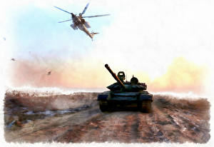 Wallpapers Tanks Helicopter Painting Art Russian Syria military