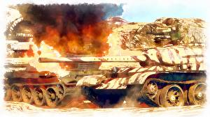 Images Tank Painting Art Flame Russian military