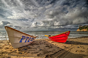 Photo USA Coast Boats Sky California Sand Clouds Nature