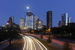 Pictures USA Building Skyscrapers Roads Texas Night time Moon Street lights Houston