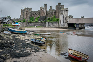 Image United Kingdom Castles Ruins Coast Boats Wales Conwy Castle Cities