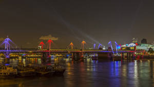 Wallpaper United Kingdom River Bridge London Night time Golden Jubilee Bridge Cities
