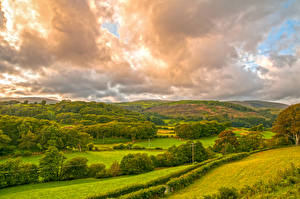Wallpaper United Kingdom Sky Meadow Clouds Hill Trees Wales Nature