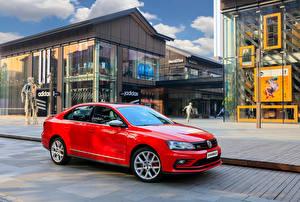 Bakgrundsbilder på skrivbordet Volkswagen Stadsgata Röd Metallisk 2016 Sagitar GLI Bilar