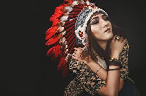 Picture Warbonnets Indigenous peoples Beautiful Black background Girls