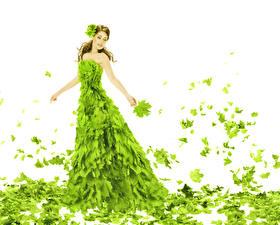 Fonds d'écran Fond blanc Aux cheveux bruns Les robes Feuillage Jaune-vert Érable jeunes femmes