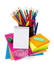 Hintergrundbilder Schreibwaren Weißer hintergrund Bleistifte Notizblock