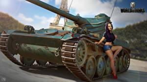 Sfondi desktop World of Tanks Carro armato Nikita Bolyakov Francesi AMX 13 90 Ragazze