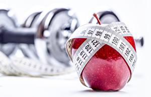 Hintergrundbilder Äpfel Fitness Messband Sport