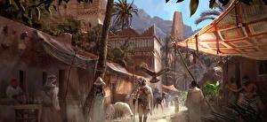 Bilder Assassin's Creed Origins Mann Ägypten Straße Spiele