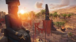 Hintergrundbilder Assassin's Creed Origins Morgendämmerung und Sonnenuntergang Ägypten Spiele