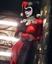 Fotos Batman Harley Quinn Held Latex computerspiel Mädchens 3D-Grafik
