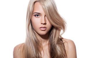 Photo Beautiful Hair Face Staring White background Dark Blonde