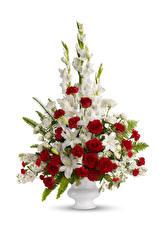Hintergrundbilder Blumensträuße Rosen Schwertblume Lilien Weißer hintergrund Vase Blüte