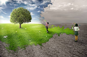 Pictures Creative Little girls Trees Phantasmagoria Nature