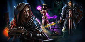 Pictures Diablo 3 Warrior Sorcery Armour Reaper of Souls Games Fantasy Girls