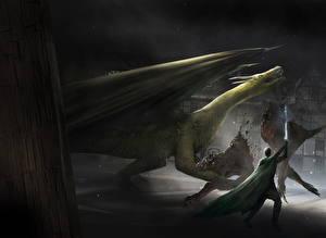 Bureaubladachtergronden Draken Krijger De strijd Zwaard Fantasy