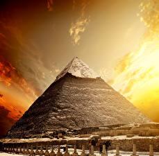 Fotos Ägypten Wüste Sonnenaufgänge und Sonnenuntergänge Himmel Pyramide bauwerk Cairo Natur