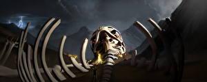 Image Fantastic world Skeleton Bonfire Fantasy
